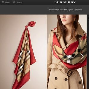 New Classic Check Pattern Red Border Silk Scarf